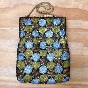 Vintage Beaded Gold Bronze Silver Evening Purse